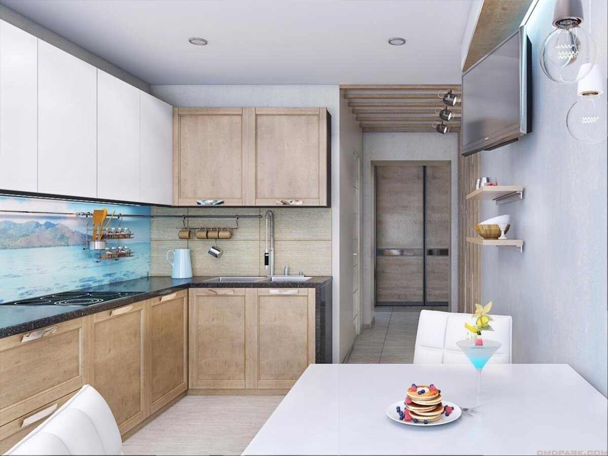 Дизайн кухни в панельной трешке фото