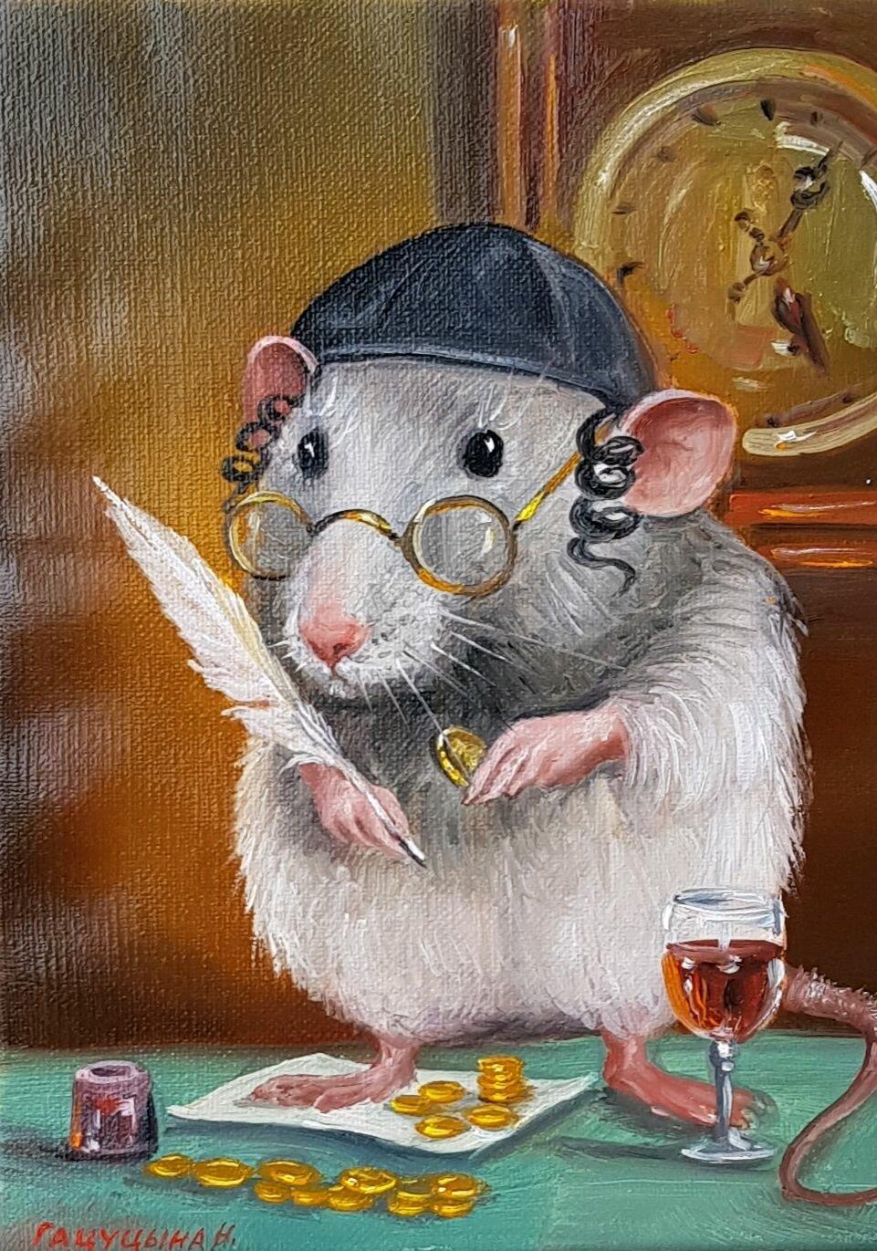 открытка белая крыса временем смартфон