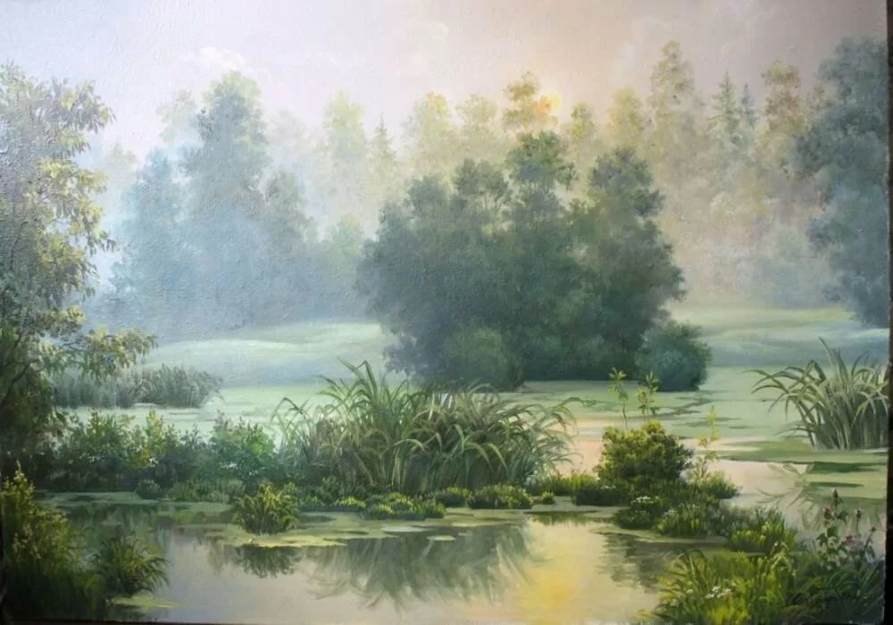 помощью картина туманное утро ильи