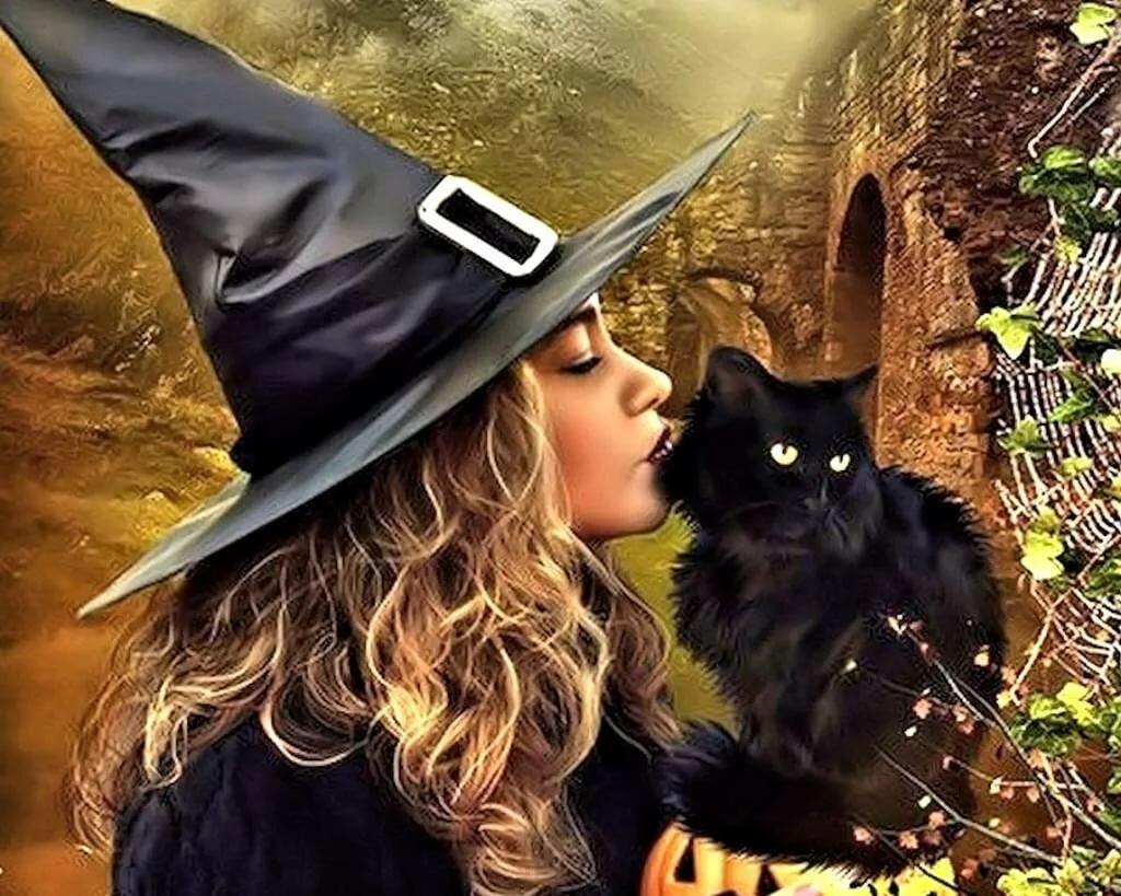 Картинки ведьмы с котами