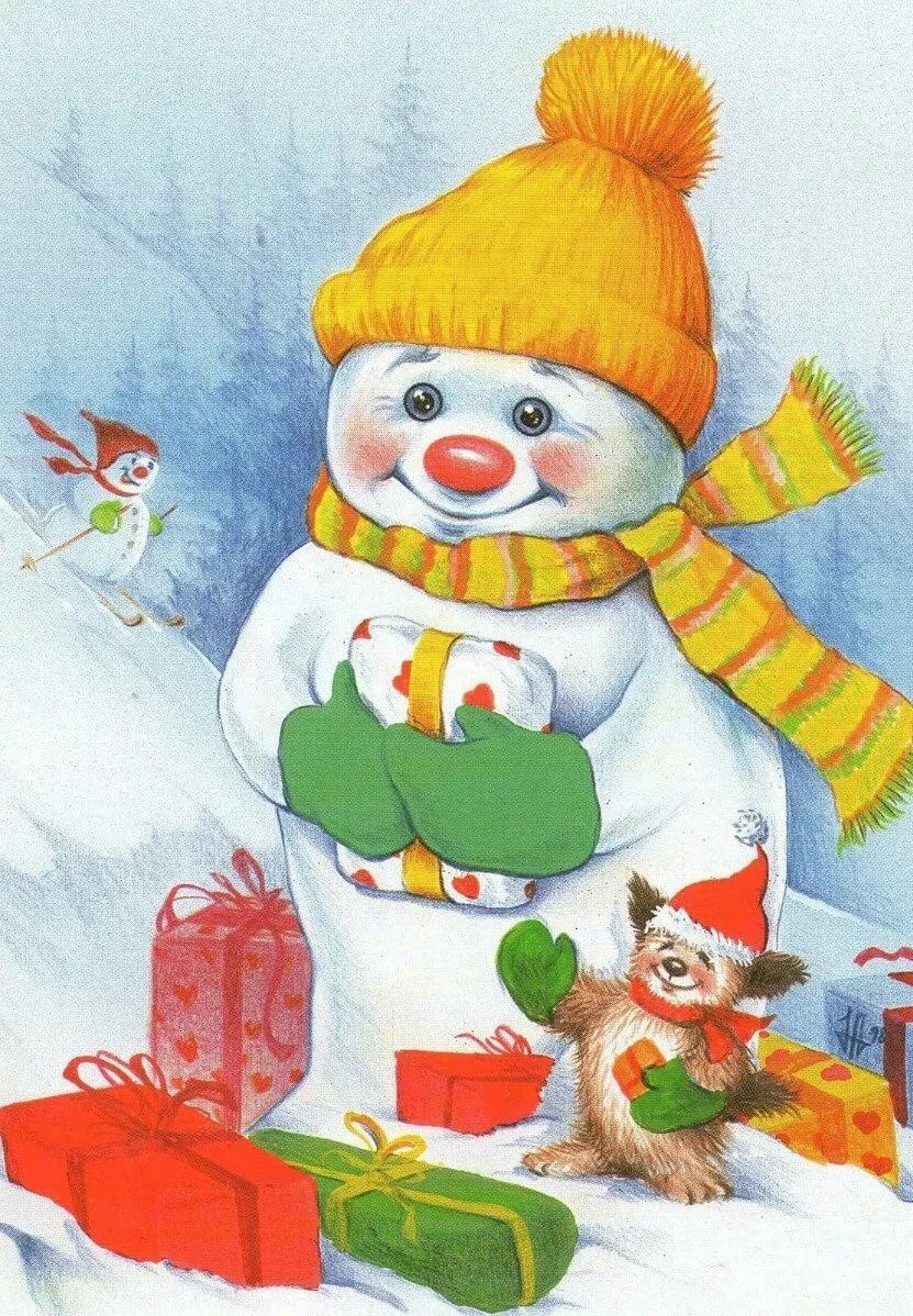 Картинки на новый год для детей нарисованные