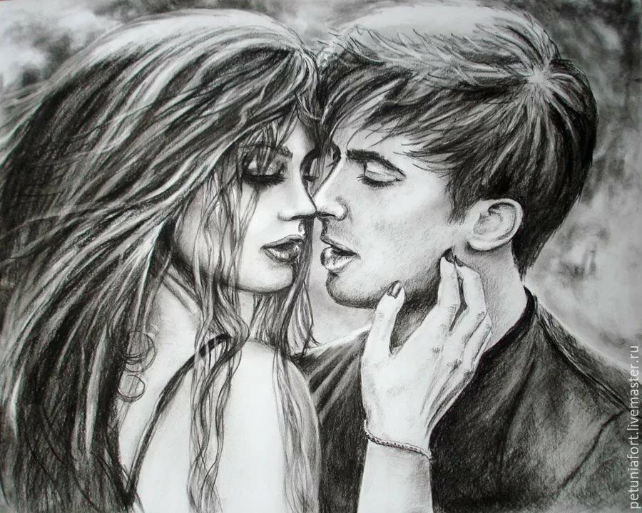 Красивые рисунки пары влюбленных
