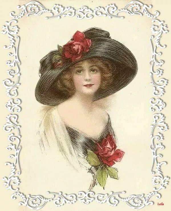 старые открытки шляпки врача мне