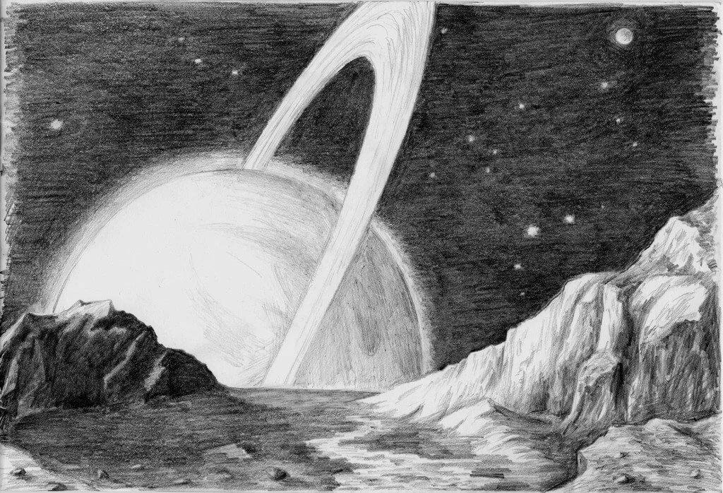 Картинки космос простым карандашом