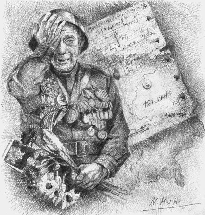 рисунки карандашом солдат вов людей