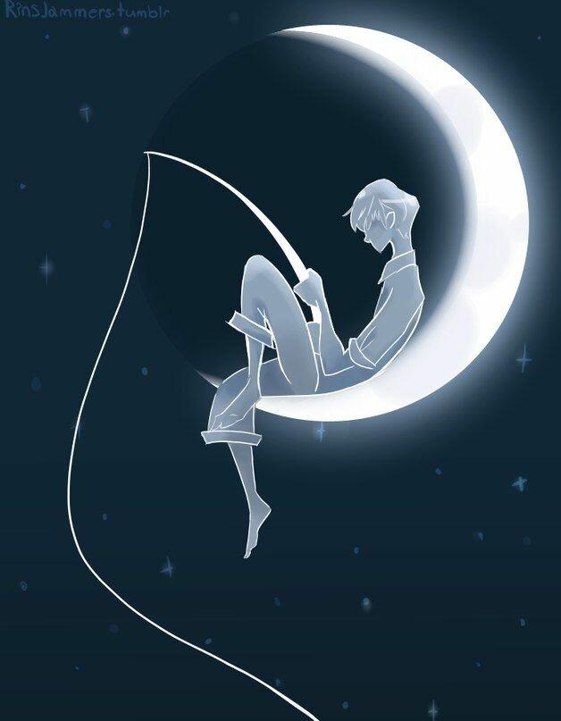 человек на луне рисунок