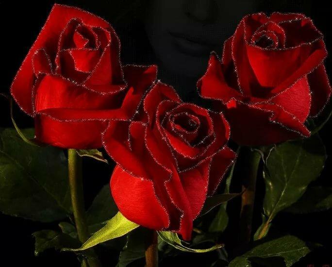 Мерцающие открытки букеты роз спокойной ночи