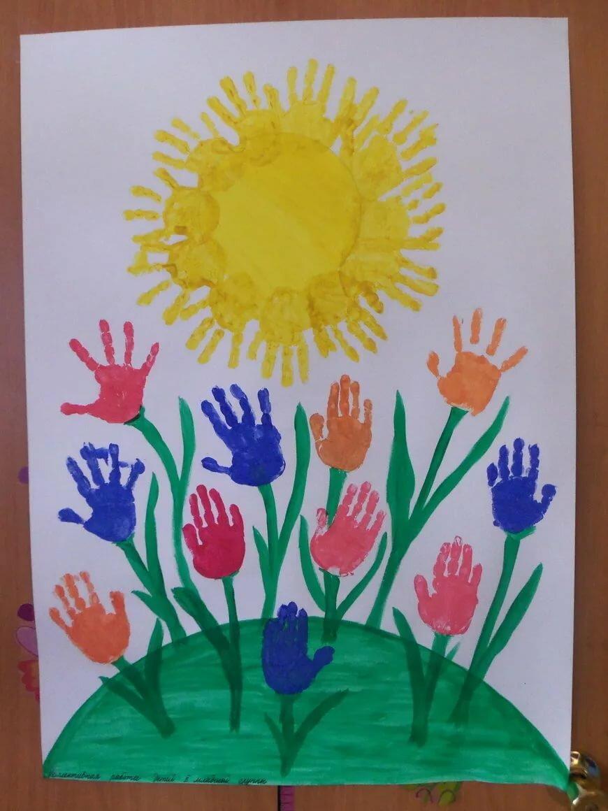 один рисунки коллективная работа тюльпаны ладошками даль