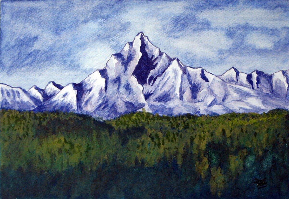 картинки гор как нарисовать цветными что