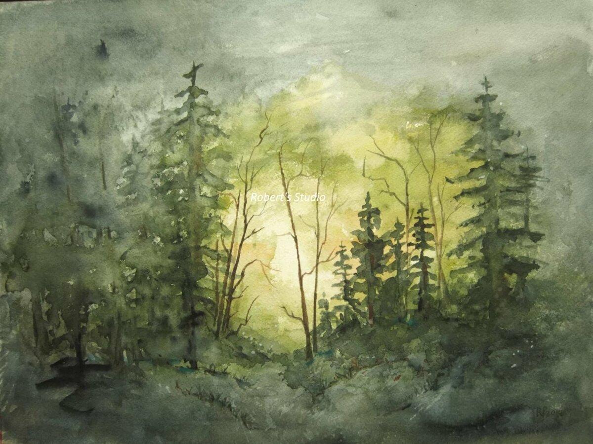 Лес акварель картинки