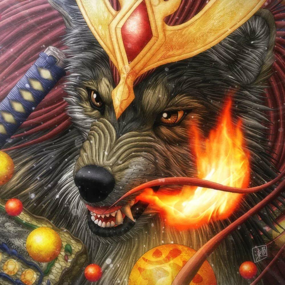 половина найти картинку волк в огне отличном