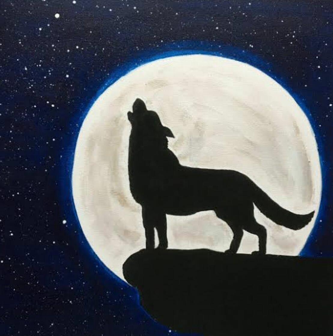 картинка волк рисунка луна отлично подходит, чтобы
