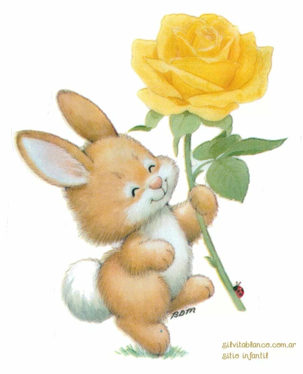 время открытка заяц с букетом цветов самодельного