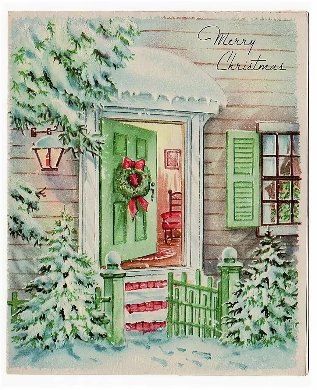 Открытки на дверь новый год