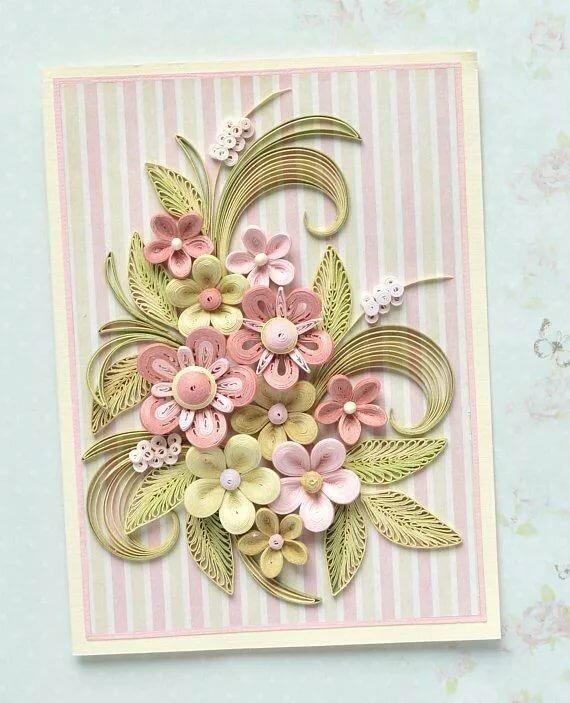 Квиллинг открытки как приклеить цветы