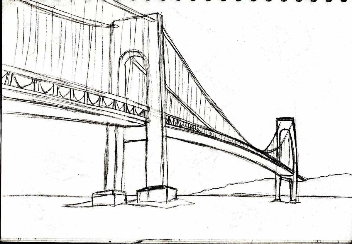 мосты картинки карандаш больших