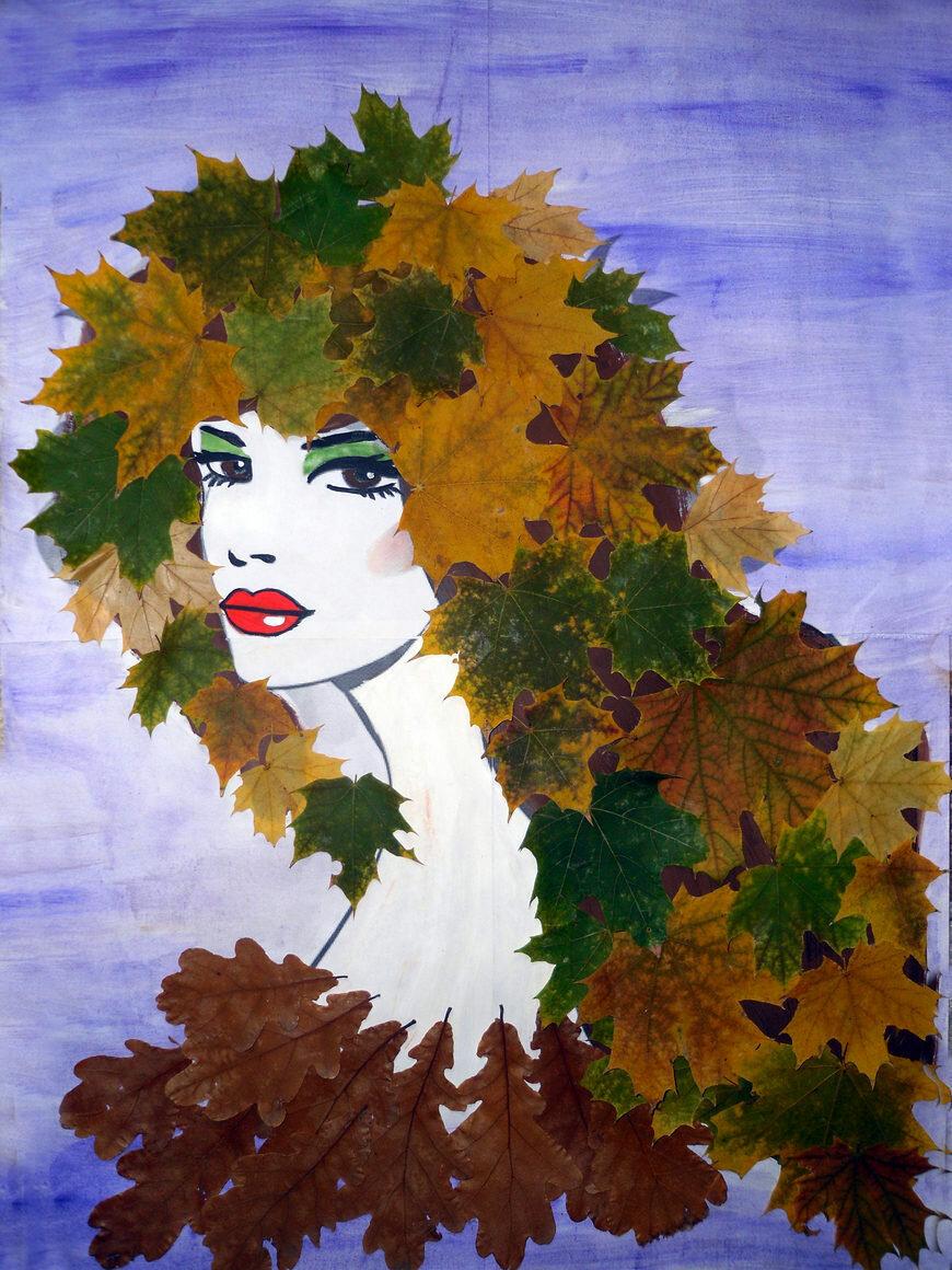 портрет из листьев картинки которые