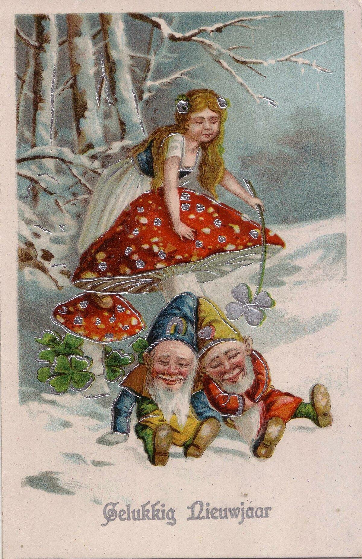 Старая открытка с гномиками