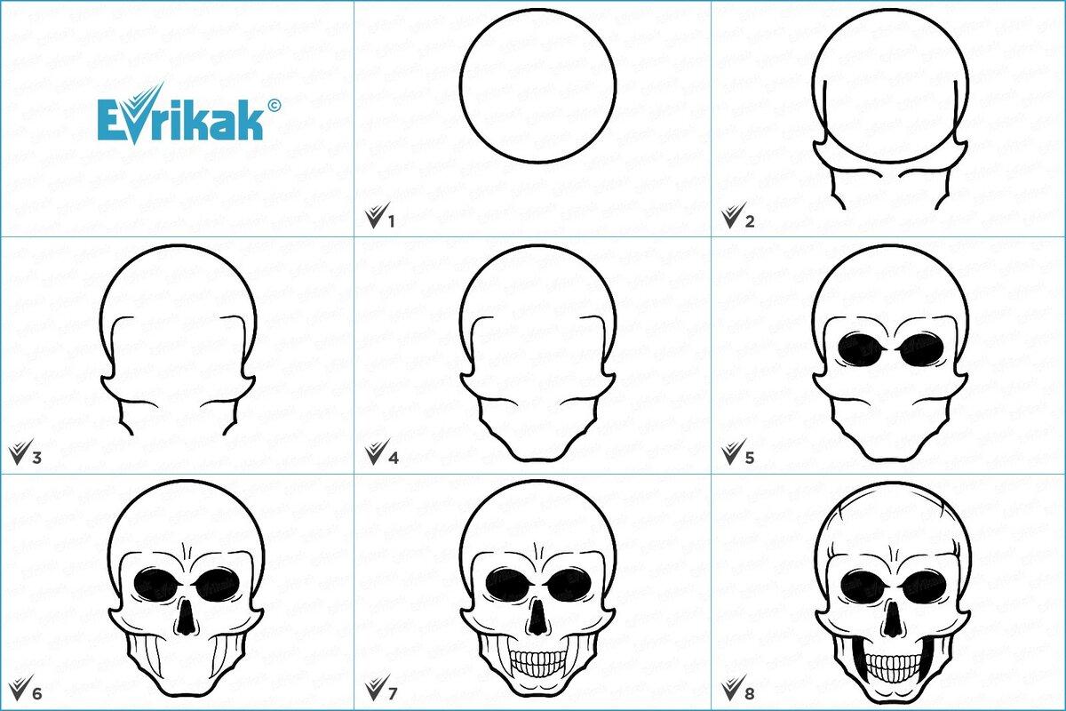 рисуем картинки карандашом поэтапно череп мне казалось