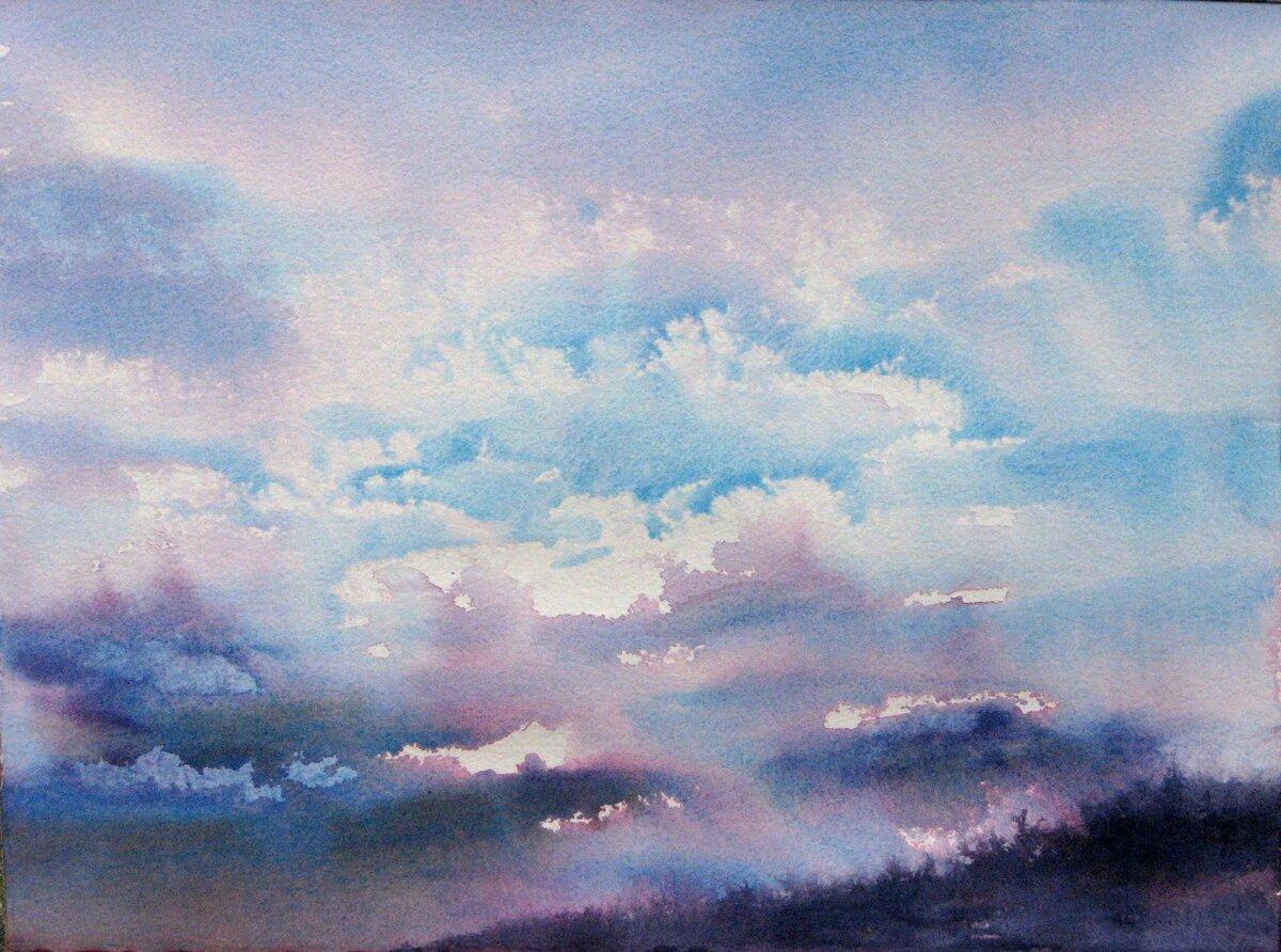 небо с облаками рисунок гуашью шаблон распечатайте
