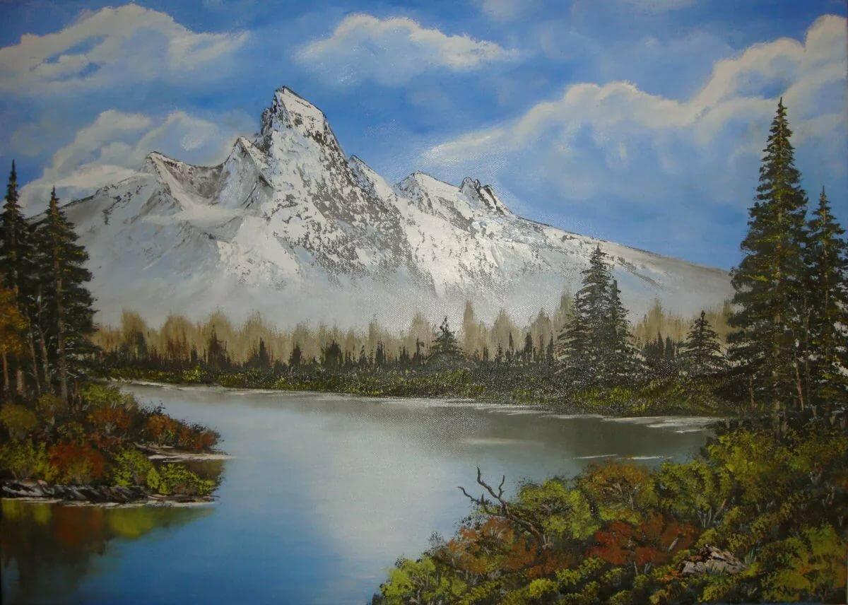 Картинка художник рисует гора
