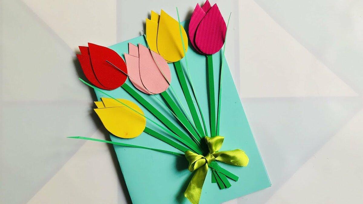 Оригами тюльпан открытку