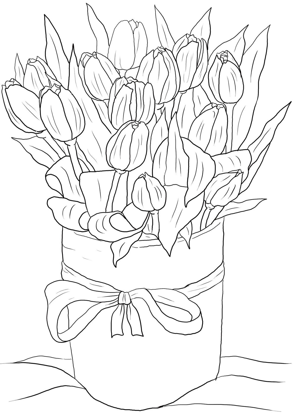 Открытка с цветами карандашом