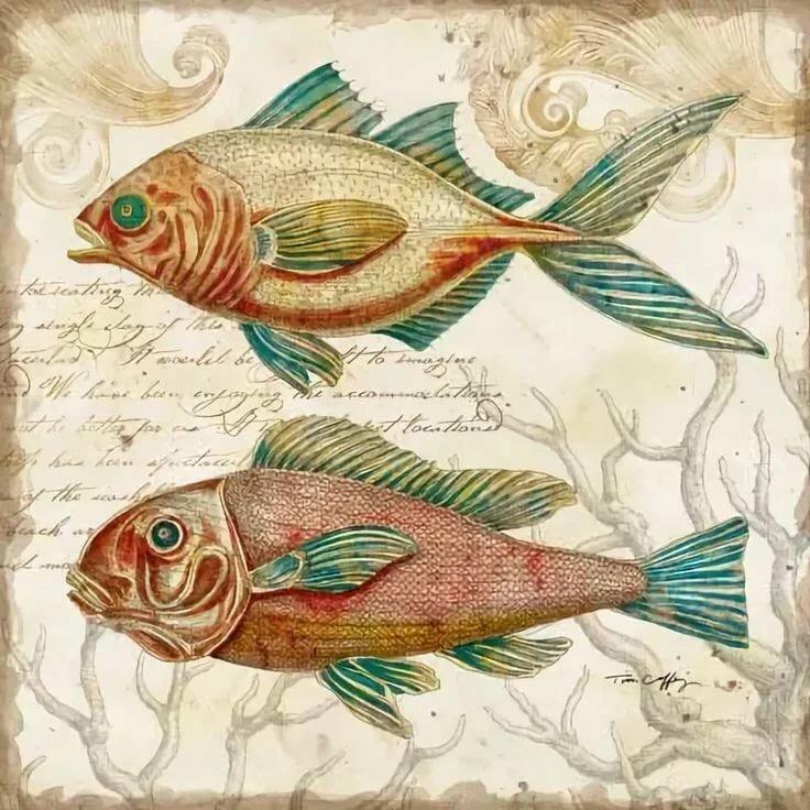 Картинки для декупажа морские животные заметку идею