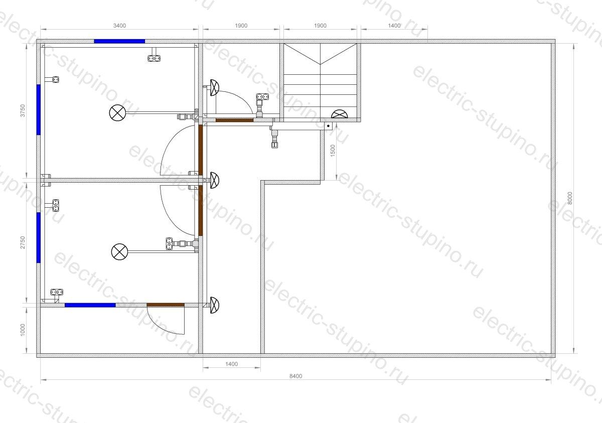 План расположения кабельных трасс 2 этаж