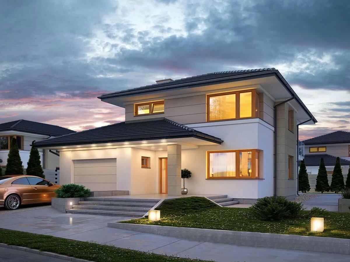 проекты красивых двухэтажных домов с гаражом фото работ победителей конкурса