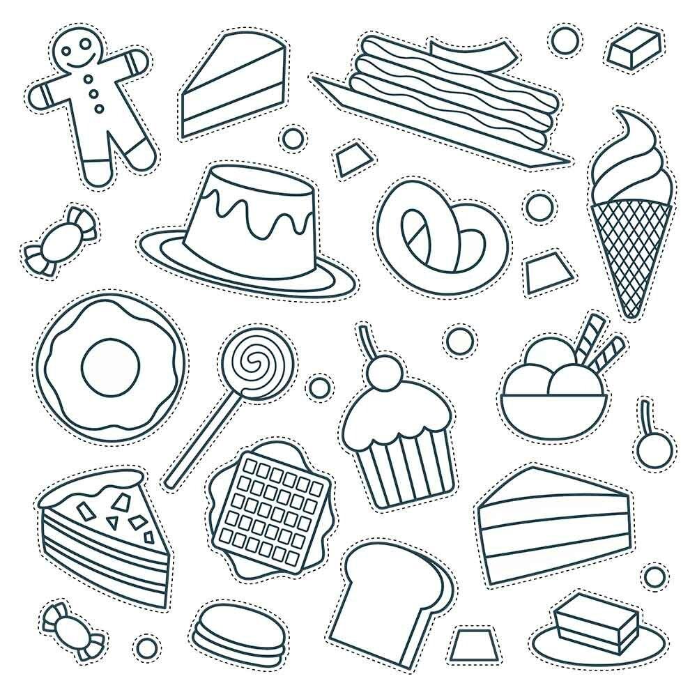 милые картинки для распечатки для значков черно белые для наклеек ресторана