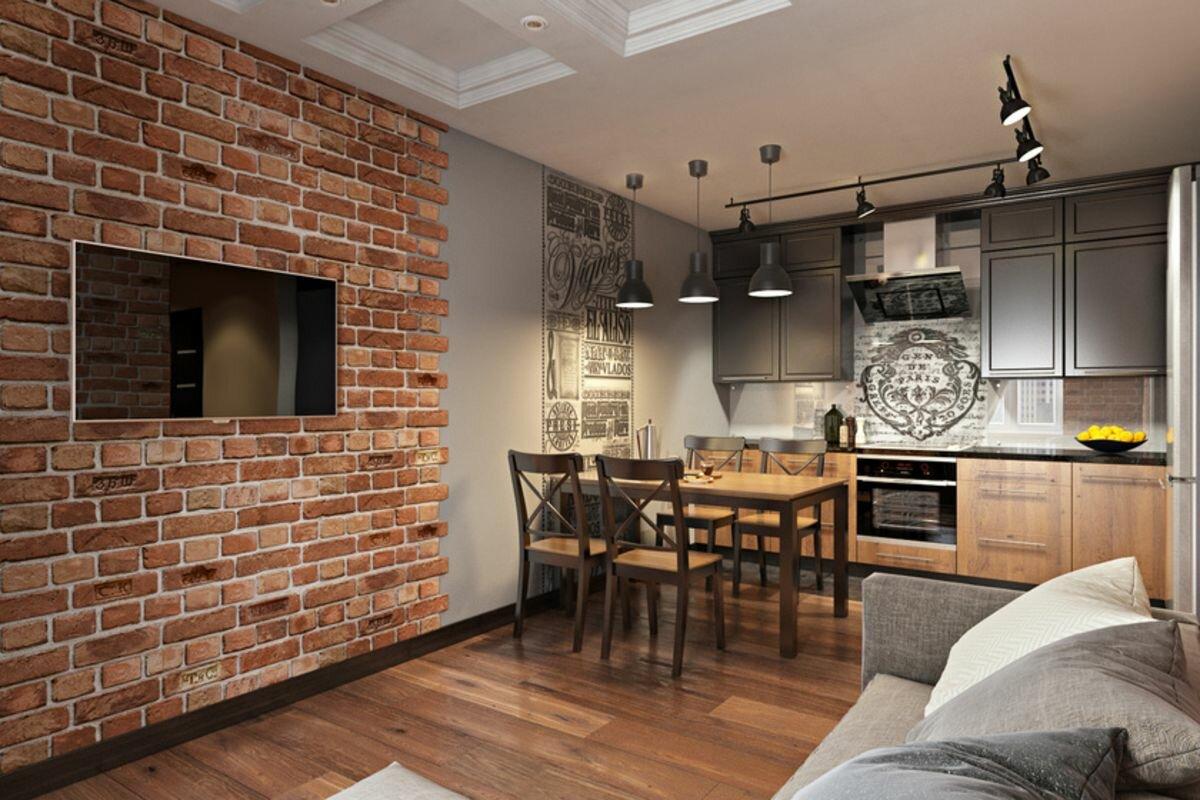 Дизайн кухни гостиной в стиле лофт фото