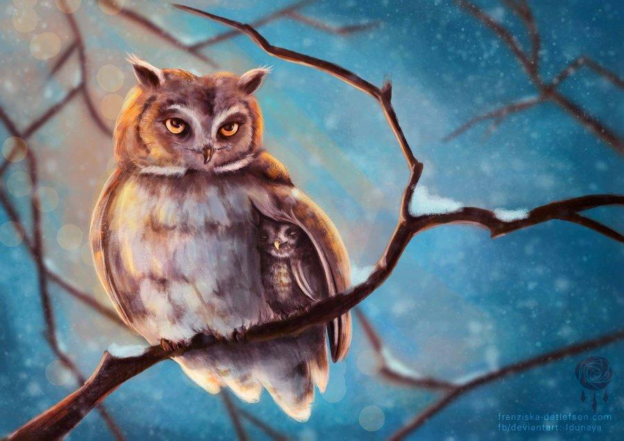 Рисунок совята на ветке