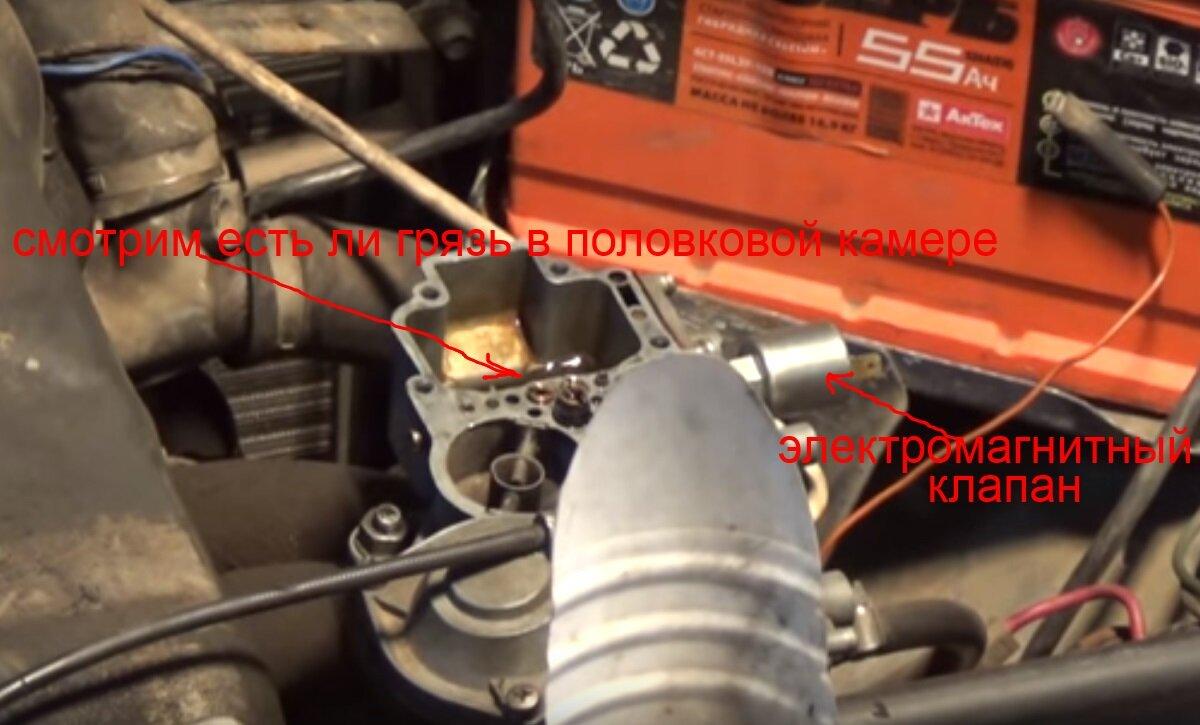поплавковая камера карбюратора ваз 2106, электромагнитный клапан