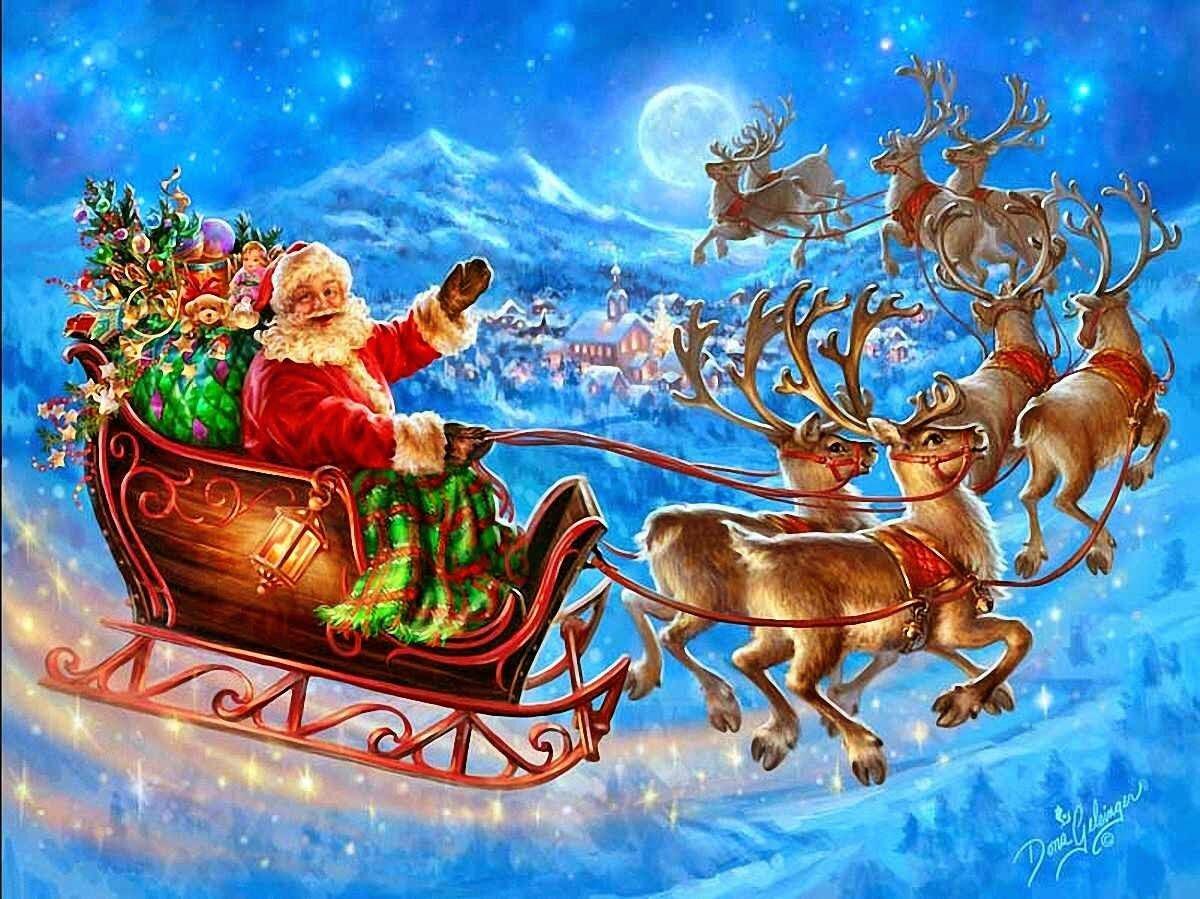 Новый год открытки дед мороз сани