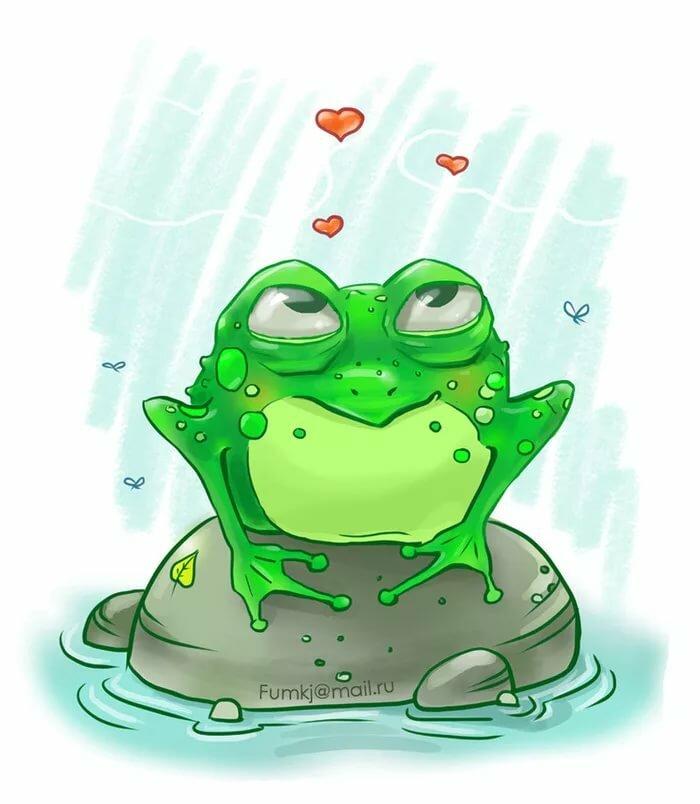рисунок смешного лягушонка теперь