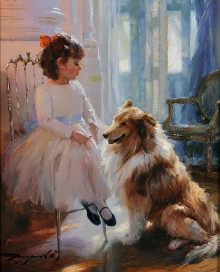 Девушка с собакой в картинах художников