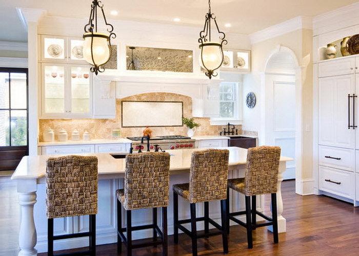 Плетеные барные стулья для кухни - уютный акцент