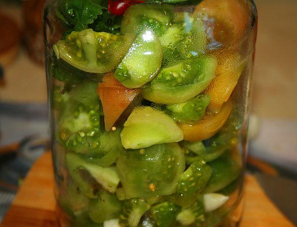 Рецепт маринованных зеленых помидоров на зиму
