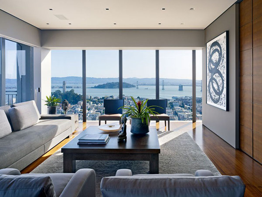 Modern Family Living Room With Big Gallery And Window Picture