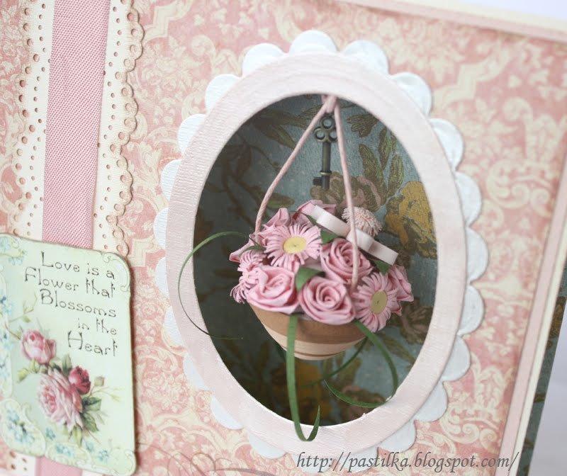 Спокойной, открытка с цветами скрапбукинг мастер