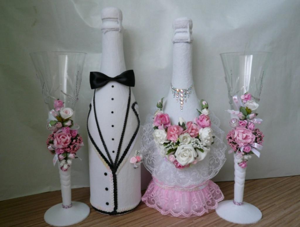 Оформление свадебных бутылок своими руками 442