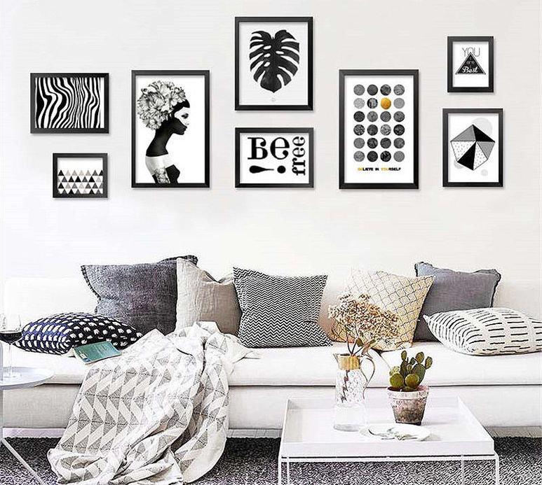 декор стены из черно-белых картинок выбор