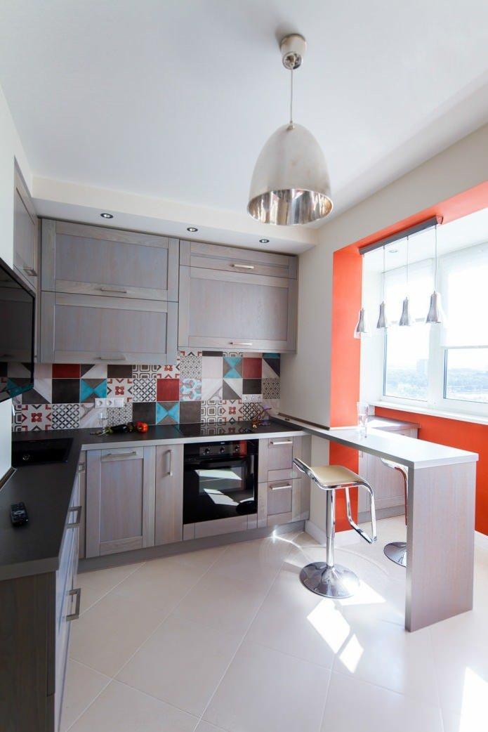 бросила дизайн кухни совместить с балконом узкая всего