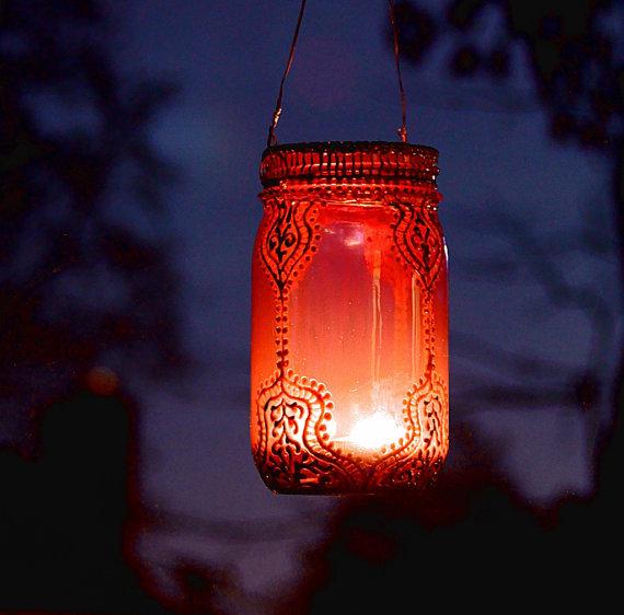 Садовый фонарь из стеклянной банки 3