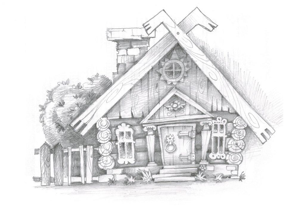 Каменный дом рисунок карандашом