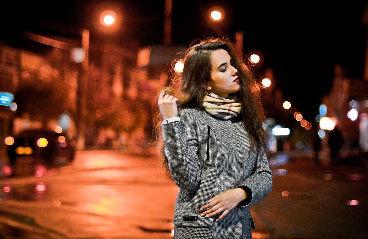 фотосессия модели ночью