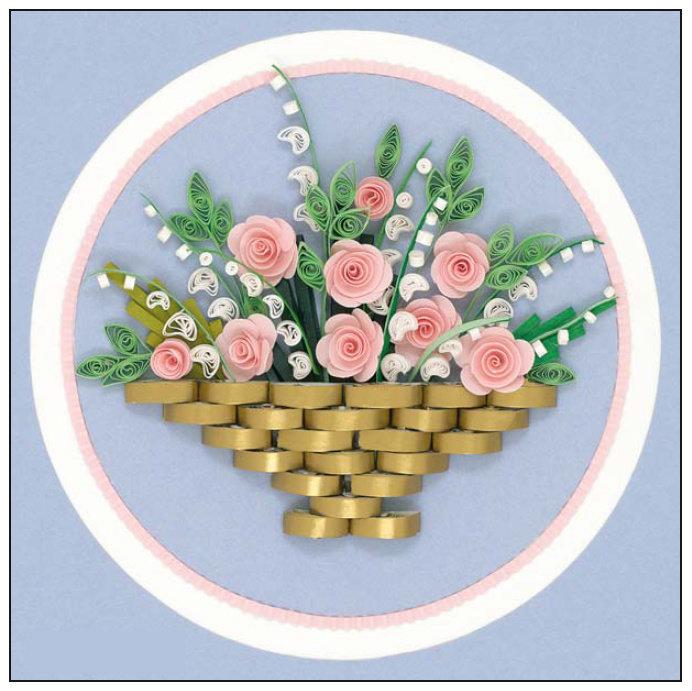 Открытка из бумаги корзина с цветами из