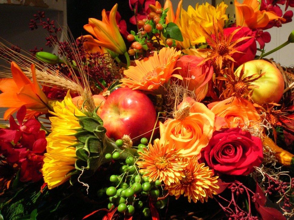 Осенний букет цветов на день рождения