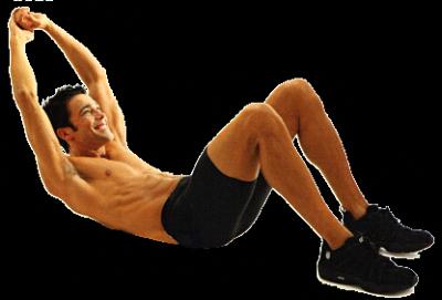Лежа на спине, согни ноги в коленях, ступни поставь на пол, а руки вытяни за голову. Приподними верхнюю часть туловища примерно на 20 см над полом, следя, чтобы руки оставались на одной линии с ушами.